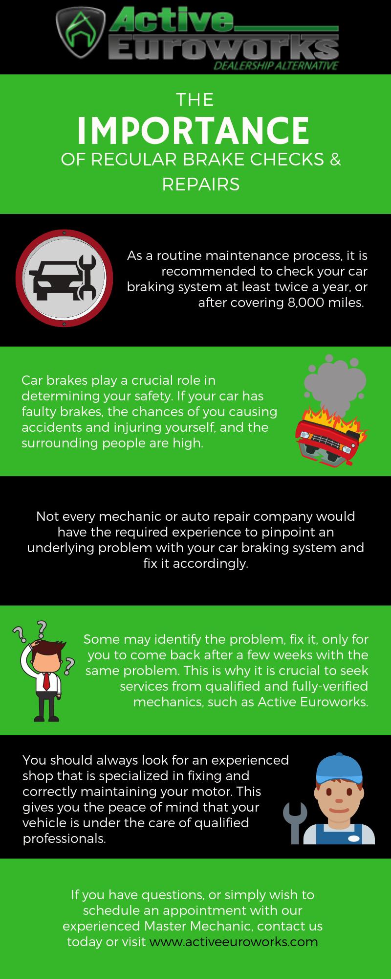 Infographic showing importance of regular brake checks in Pflugerville