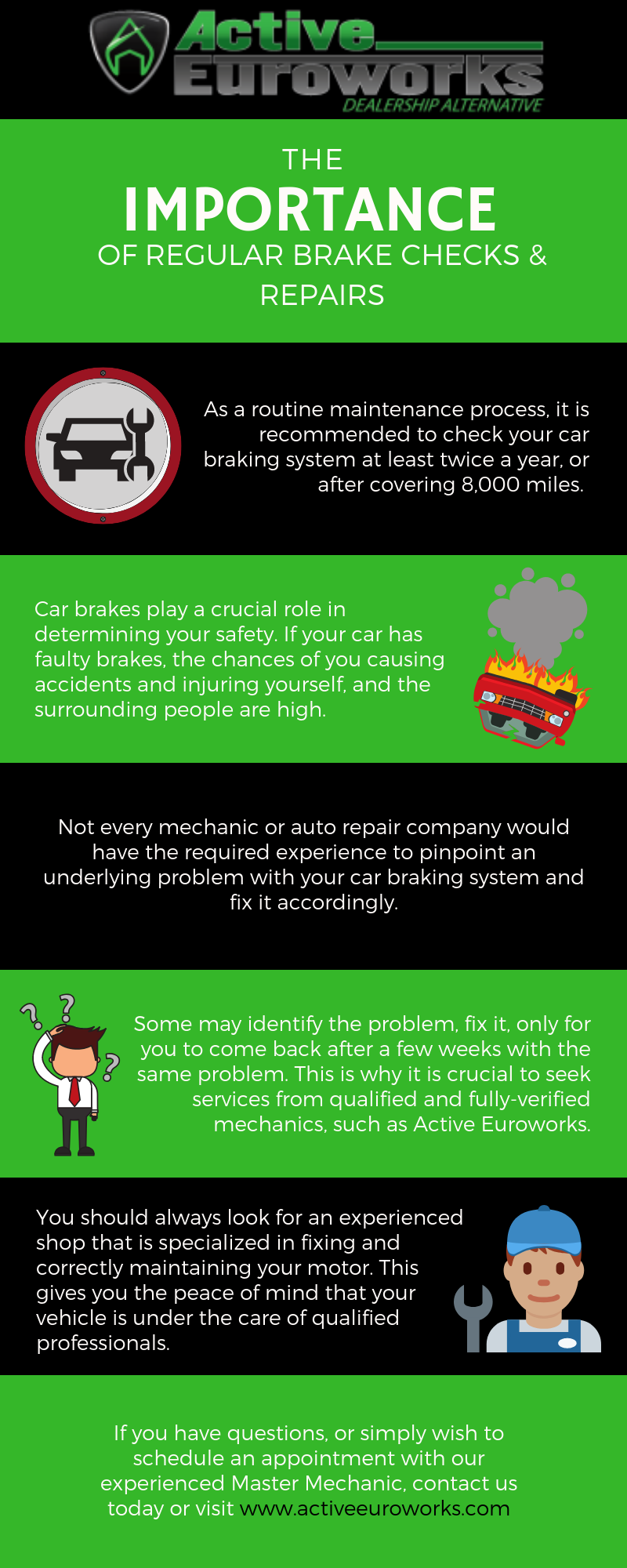 Infographic showing importance of regular brake checks in Pflugerville
